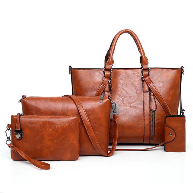 4 pcs women casual minimalist handbag shoulder bag