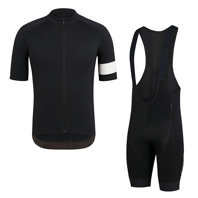 Men's Short Sleeve Cycling Jersey with Bib Shorts Elastane Black Bike Sports Clothing Apparel