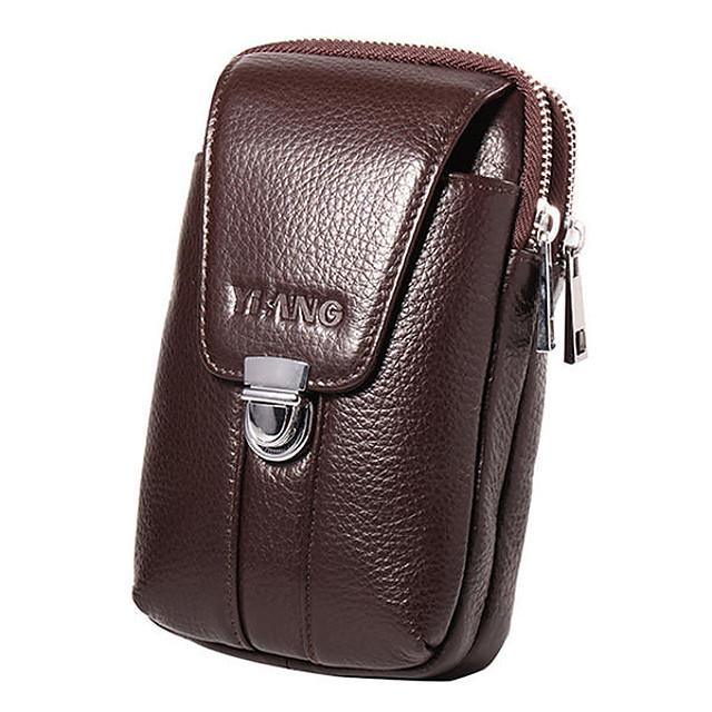 men 4.7/6 inch cell phone waist bag genuine leather belt zipper coin purse phone bag