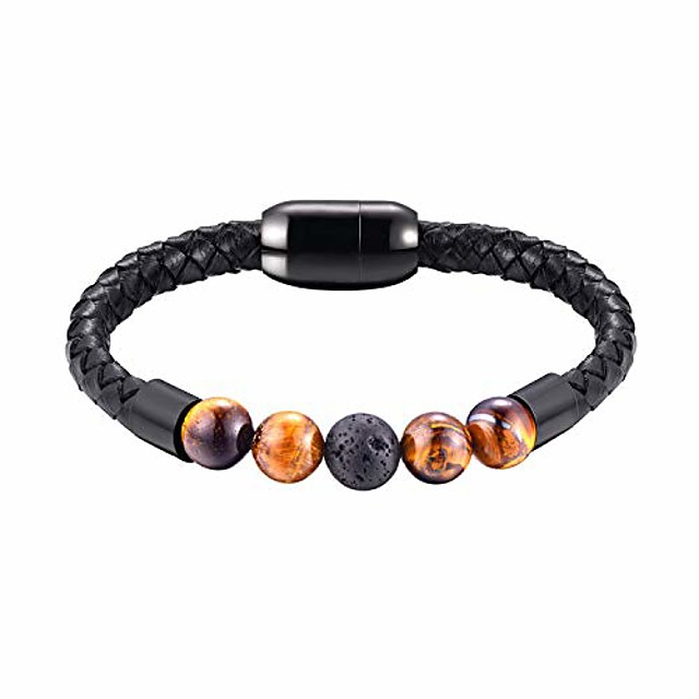 4 tiger eye agate beads and black lava rock relaxed healing bracelet lucky men women waterproof genuine leather bracelets volcanic stone jewelry with stainless steel magnetic clasp