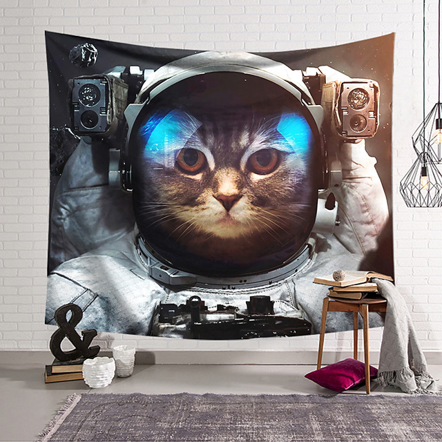 Wall Tapestry Art Decor Blanket Curtain Hanging Home Bedroom Living Room Decoration Polyester Spacesuit Cat