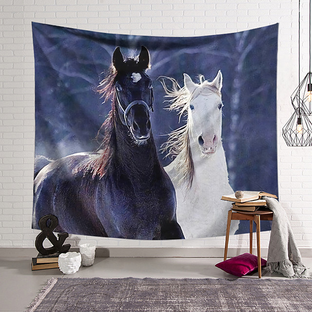 veggteppe kunst dekor teppe gardin hengende hjem soverom stue dekorasjon svart og hvit hest polyester