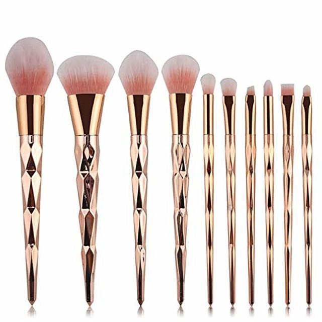 10 pcs Professional Makeup Brush Set,for Blending Concealers Highlighter Eye Shadows (gold)