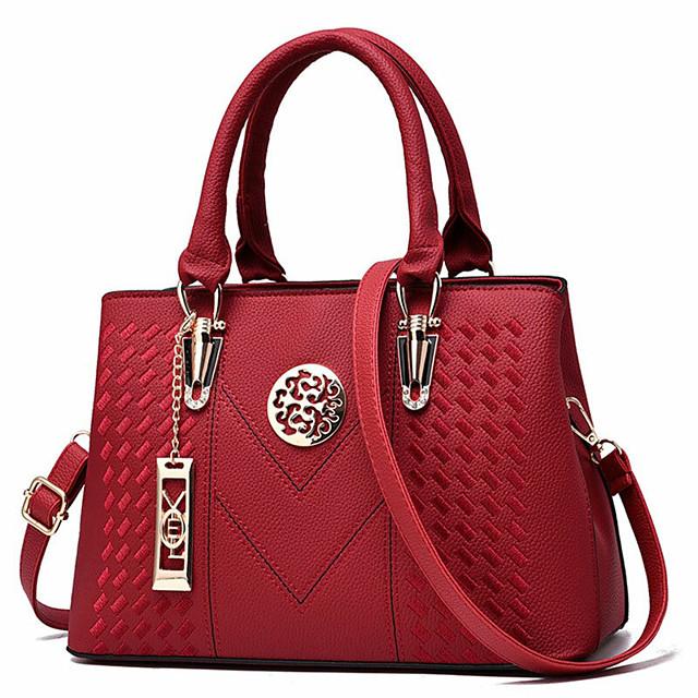 dames portemonnees en handtas vintage schoudertas lichi patroon grote draagtas handtas met handvat aan de bovenkant met lange metalen koorddecoratie