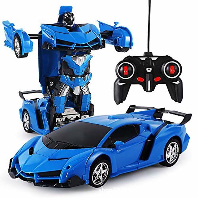 Remote Control Car Transform Robot RC Car Remote Control Stunt Car 2 in 1 RC Car Driving Sports Cars Drive Deformation Robot Model Remote Control Car RC Fighting Toy Gift