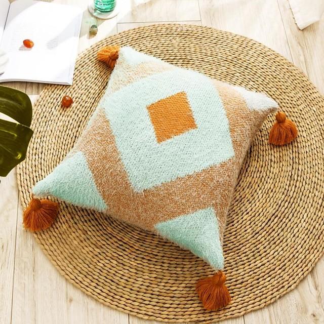 1 pcs Velvet Pillow Cover, Tassel Luxury Modern Square Zipper Traditional Classic