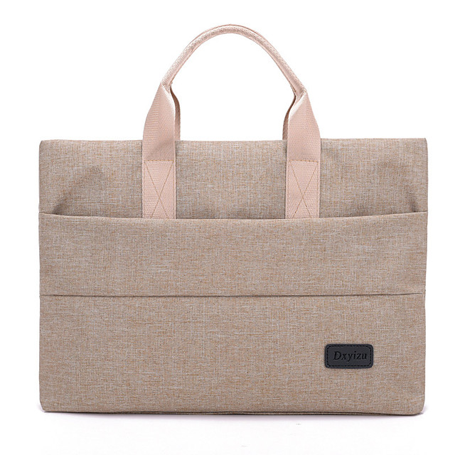 Unisex Waterproof Oxford Cloth Laptop Bag Zipper Solid Color Daily Office & Career Black Pink Beige Gray