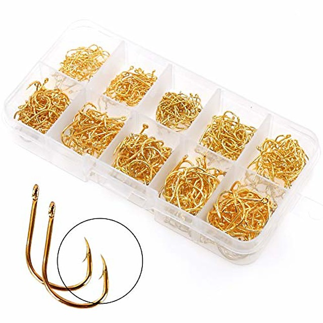 500PCS Small Fishing Hooks, Assorted 10 Sizes(3#-12#) Fish Hooks Portable Plastic Box, Strong Sharp Fishhook with Barbs for Freshwater/Seawater (Gold)