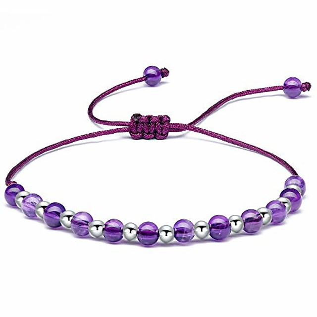 Beaded Bracelets for Womens Sterling Silver, 4MM Amethyst Gemstone Bracelet, Handmade Braided Bracelet Friendship Jewellery Gifts