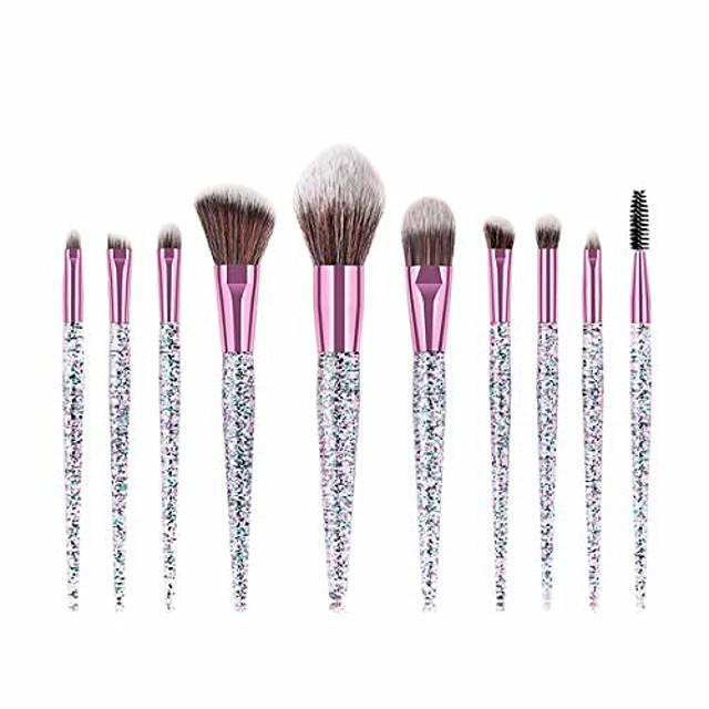 Makeup Brushes Sequin Makeup Brush Set Tools Make-up Toiletry Kit Nylon Cosmetic Brush Eye Brush 10pcs (Color : 10-Piece)