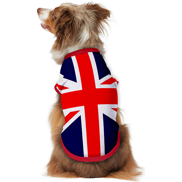 Dog Shirt / T-Shirt Vest Print Flag National Flag Fashion Cool Casual / Daily Outdoor Dog Clothes Puppy Clothes Dog Outfits Breathable Blue Costume for Girl and Boy Dog Polyster S M L XL