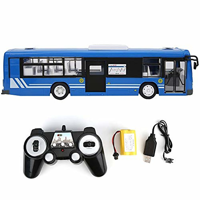 Remote Control Bus, 2.4GHz RC Car Model Model Car Toy with Sound Light for Kids (Blue)