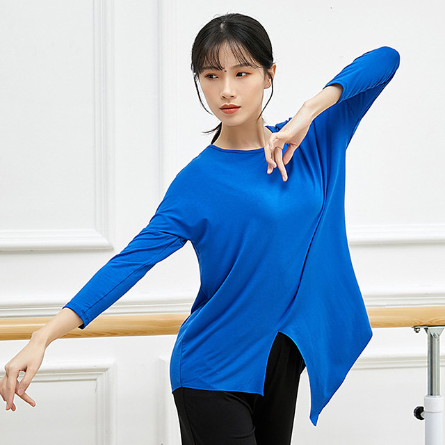 Activewear Top Split Ruching Solid Women's Training Performance Long Sleeve High Modal