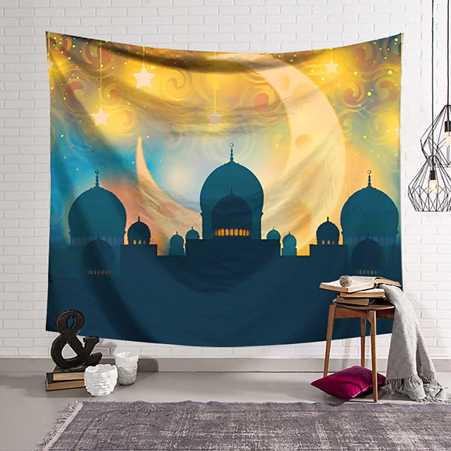 Eid Mubarak Islamic Muslim Ramadan Wall Tapestry Art Decor Blanket Curtain Hanging Home Bedroom Living Room Decoration Polyester Castle Moon