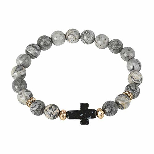 Black Horizontal Box Cross Grey Marbled Agate Semi-Precious Stone Beads with Gold Tone Accents Adult Stretch Fit Beaded Bracelet