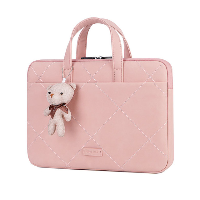 Unisex Bags PU Leather Top Handle Bag Bear Zipper Office & Career Handbags Blushing Pink Gray