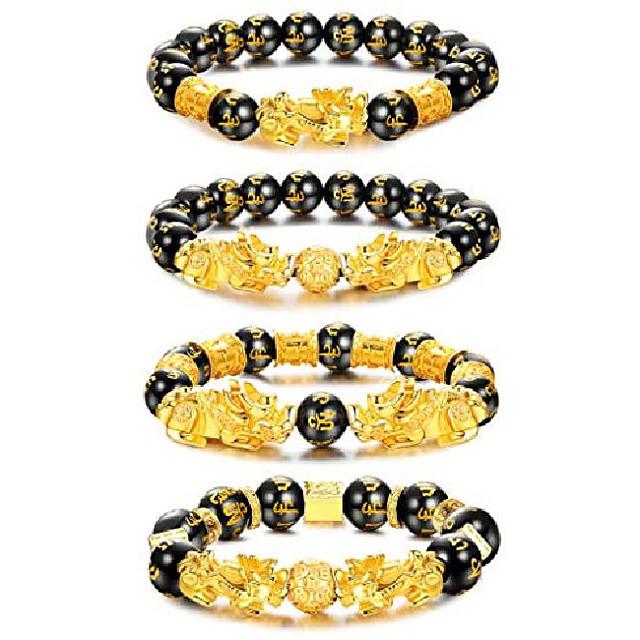 Feng Shui Pixiu Good Luck Bracelets for Men Women Black Obsidian Mantra Bead Bracelets Pi Yao Attract Wealth Money Bracelelts with Gold Plated