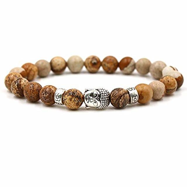 8mm Natural Stone Bracelet Black Lava Volcano Buddhism Head Man Ma'am Elastic Bracelet Beads Bracelets For Women Men Punk male (Agate image)