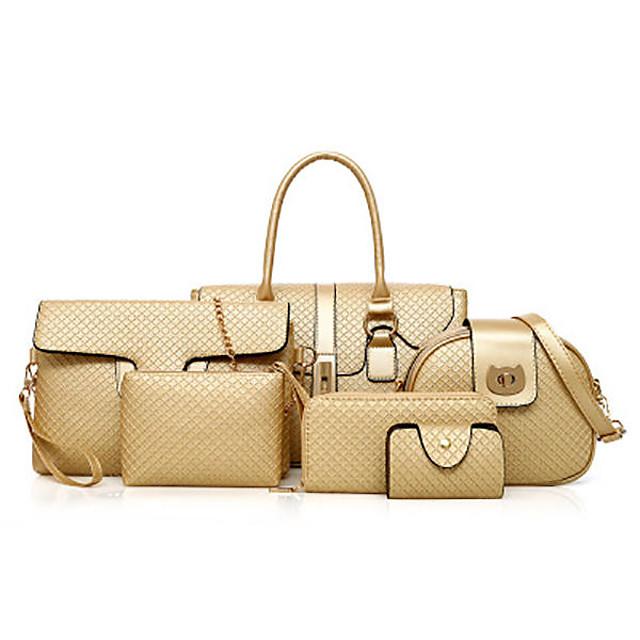 6 pcs women pu leather handbag