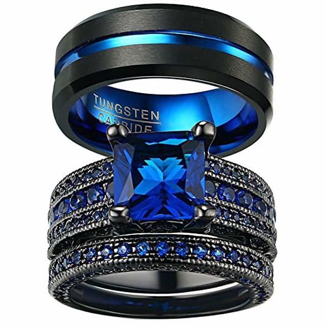 Couple Rings Black Gold Filled Princess Cut Blue Cz Womens Wedding Ring Man Tungsten Wedding Band