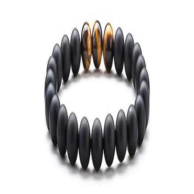Men Women 8mm Tiger Eye Stone Beads Bracelet Elastic Natural Stone Yoga Bracelet Bangle (Black Agate)