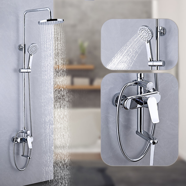 Shower System / Rainfall Shower Head System Set - Handshower Included Multi Spray Shower Waterfall Contemporary / Traditional Electroplated Mount Outside Ceramic Valve Bath Shower Mixer Taps