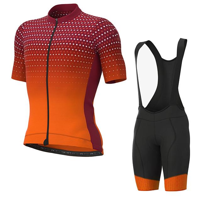 Men's Short Sleeve Cycling Jersey with Bib Shorts Elastane Orange Bike Sports Clothing Apparel