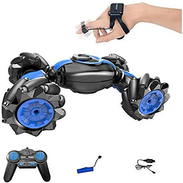 Rc Stunt Car Flips Car Gesture Sensor Remote Control Car Double-Sided Twist Racing Racing Deformation Car Drift Driving Dancing Off-Road Toy Car, Can Be Used As A Birthday Gift for Children Blue