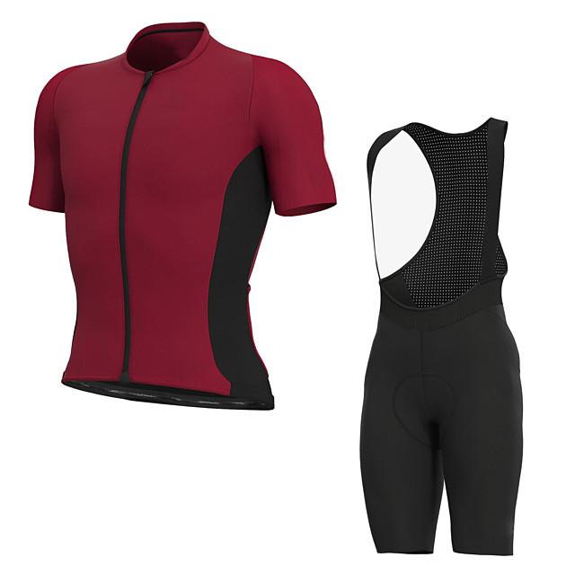 Men's Short Sleeve Cycling Jersey with Bib Shorts Elastane Rose Red Bike Sports Clothing Apparel