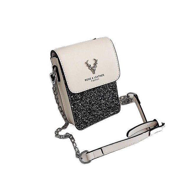 Women's Bags PU Leather Mobile Phone Bag Glitter Chain Sequin Letter 2021 Daily Going out Black / White White Black Silver