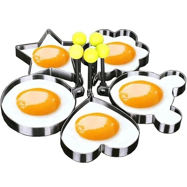 5 Pieces Set Fried Egg Mold Pancake Rings Shaped Omelette Mold Mould Frying Egg Cooking Tools Kitchen Supplies Accessories Gadget