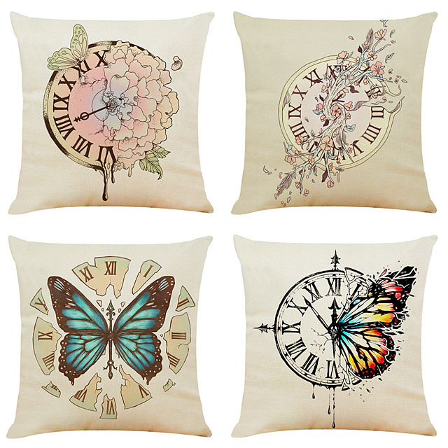 4 pcs Linen Pillow Cover, Animal Simple Classic Square Zipper Traditional Classic