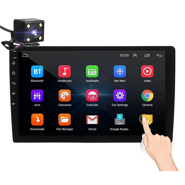 Oukoo 10.1Inch 2Din for Android 8.1 Car Stereo Radio 1+16G IPS 2.5D Touch Screen MP5 Player GPS WIFI FM with Backup Camera