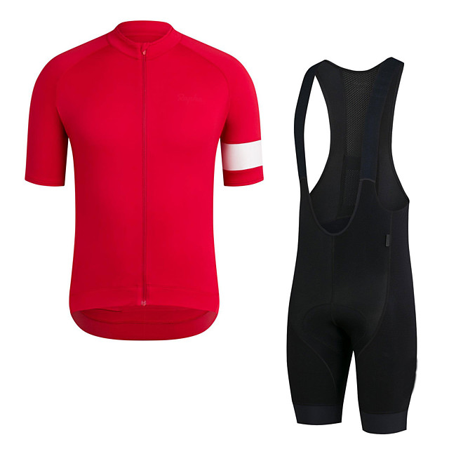 Men's Short Sleeve Cycling Jersey with Bib Shorts Elastane Red Bike Sports Clothing Apparel