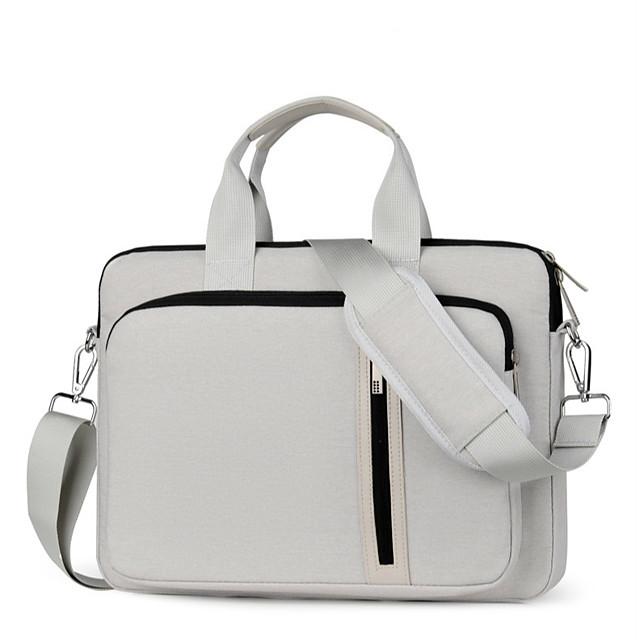Unisex Nylon Laptop Bag Zipper Solid Color Daily Office & Career Dark Grey Black Beige