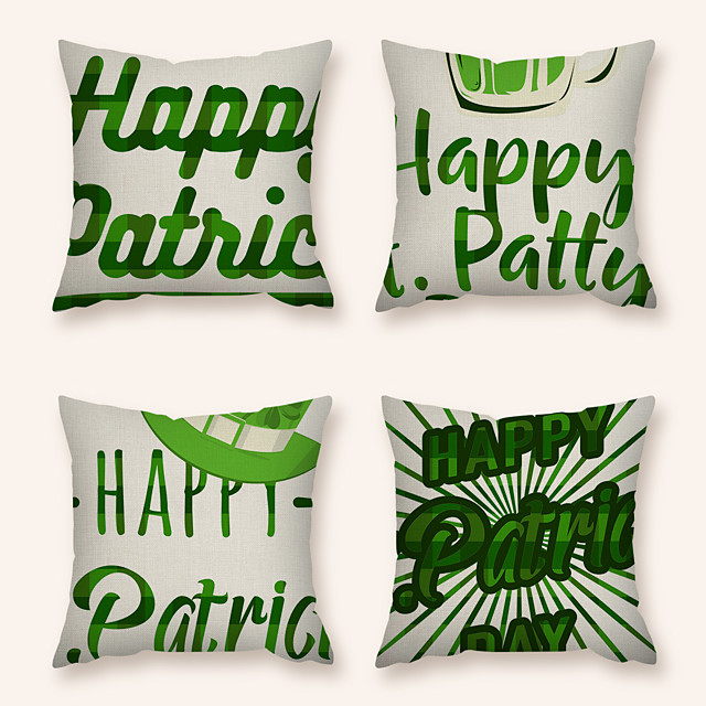 4 pcs Linen Pillow Cover, Holiday Square Zipper Polyester Traditional Classic