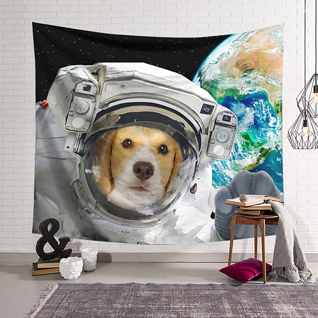 Wall Tapestry Art Decor Blanket Curtain Hanging Home Bedroom Living Room Decoration Polyester Spacesuit Dog Earth