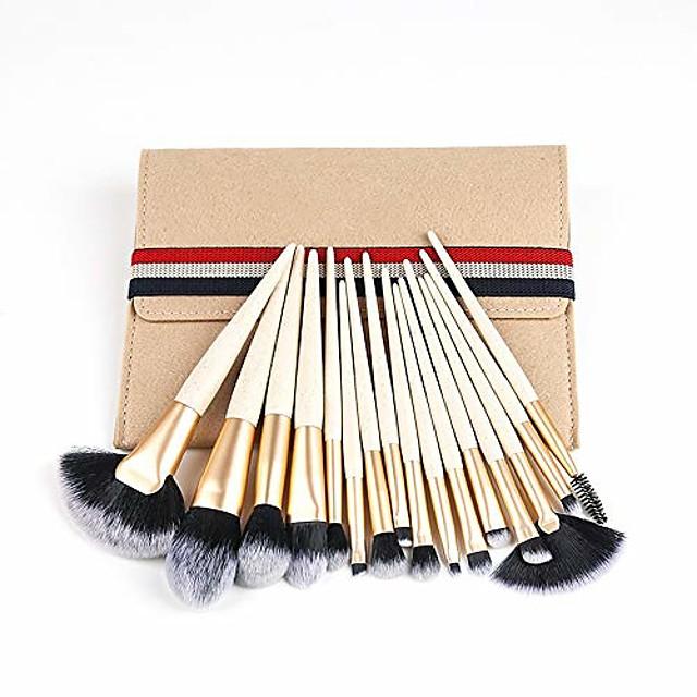 Makeup Brushes, 15-piece Makeup Brush Set, Foundation Concealer Eye Shadow Eyebrow Makeup Brush, Portable Makeup Tools, Makeup Bag (Color : Beige)