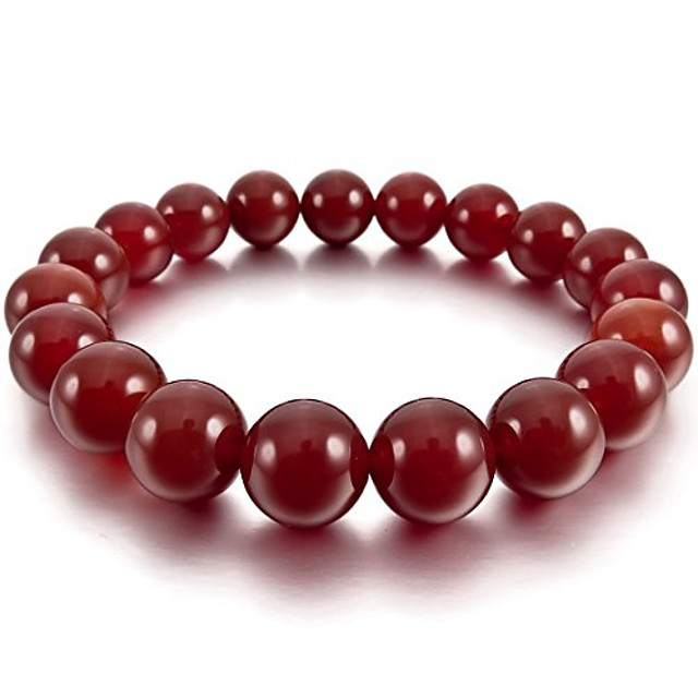 men,women's 12mm energy bracelet link wrist energy stone simulated agate red buddha mala bead