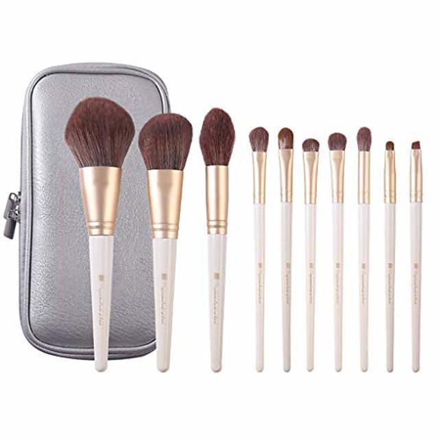 10 Professional Makeup Brush Sets   Loose Powder Brush Nose Shadow Concealer Eyebrow Brush Full Set (Color : White)