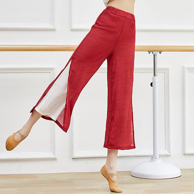 Activewear Pants Split Ruching Gore Women's Training Performance Sleeveless High Linen / Cotton Blend