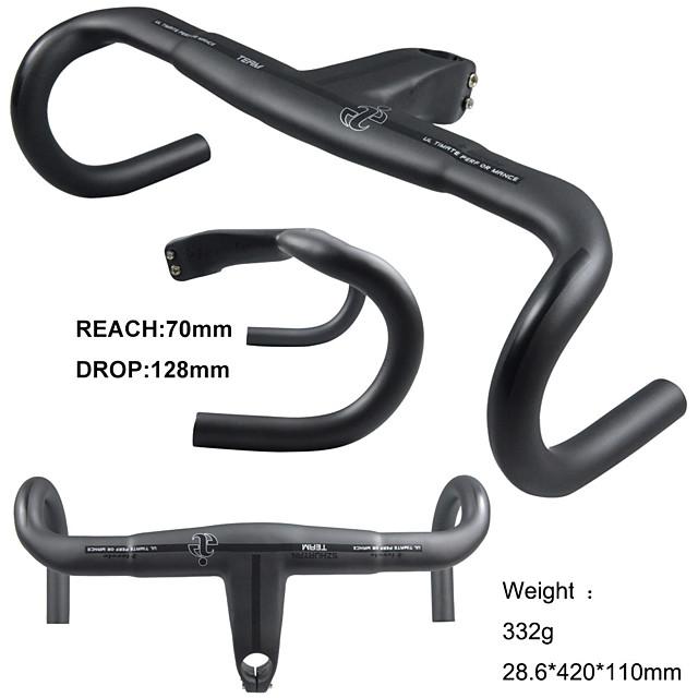 Углеродное волокно Руль Руль с дропами 28.6 mm Легкость Велоспорт Мощность Шоссейный велосипед Горный велосипед Шоссейные велосипеды Велоспорт Черный Матовый