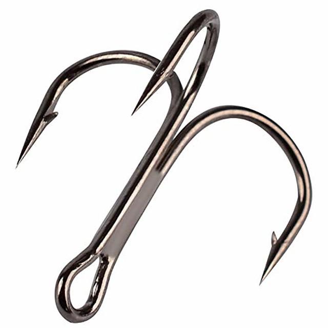50pcs Fishing Hook Treble Hooks High Carbon Treble Hooks Super Sharp Solid Size 2 4 6 8 10 12 Triple Barbed Steel Fish Hook