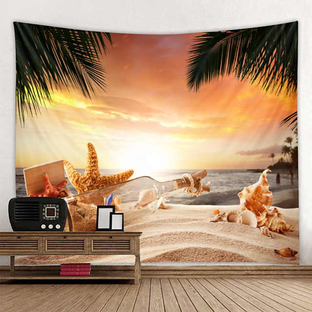 Wall Tapestry Art Decor Blanket Curtain Hanging Home Bedroom Living Room Decoration Sun Beach Shell Starfish Drift Bottle