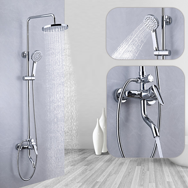 Shower System / Rainfall Shower Head System Set - Handshower Included pullout Multi Spray Shower Contemporary / Traditional Electroplated Mount Outside Ceramic Valve Bath Shower Mixer Taps