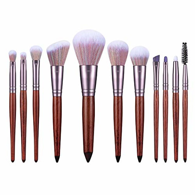 11 Beginner Makeup Brush Set Blush Brush Foundation Brush Eye Shadow Brush Portable Professional Full Set of Makeup Appliances (Color : Brown)