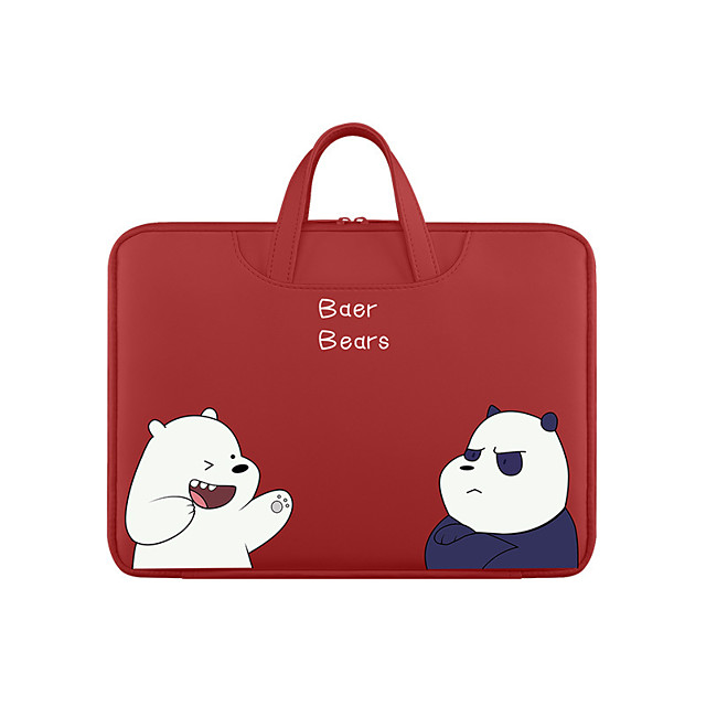 Unisex Waterproof PU Laptop Bag Zipper Floral Print Character Daily Office & Career Red