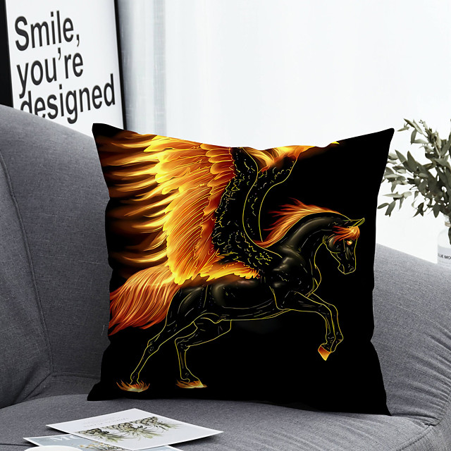 1 pcs Polyester Pillow Cover & Insert, Animal Simple Classic Square Zipper Polyester Traditional Classic