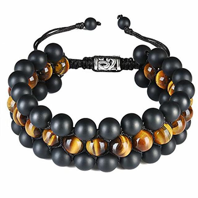 Mens Triple Layered Bead Bracelet 8mm Semi-Precious Healing Stones Black Matte Agate Tiger Eye Beads Macrame Adjustable Bracelet for Men Boys B007
