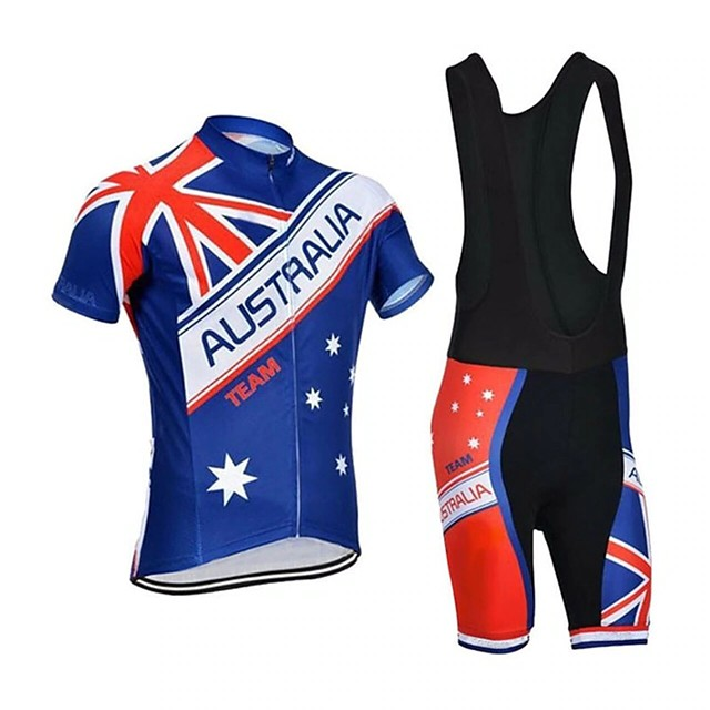 21Grams Men's Short Sleeve Cycling Jersey with Bib Shorts Blue National Flag Bike Breathable Sports Graphic Mountain Bike MTB Road Bike Cycling Clothing Apparel / Stretchy / Athleisure